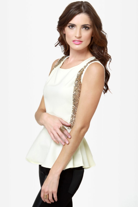 On the Bright Side Ivory Sequin Peplum Top at Lulus.com!