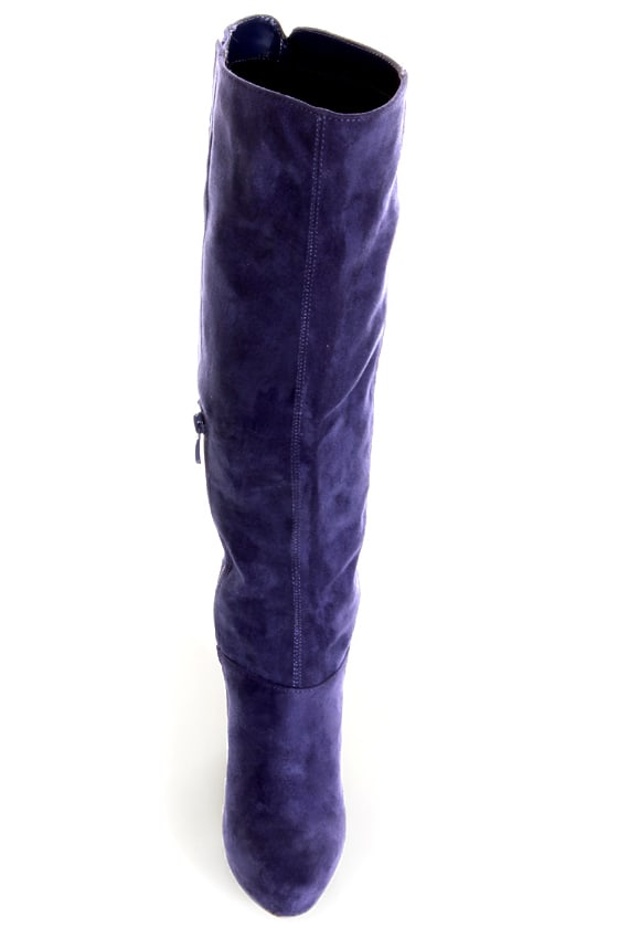 Ardiente Sole Freedom Plum Purple Platform Knee High Boots