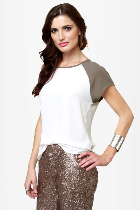 It Had to Be Two Taupe and Ivory Top at Lulus.com!