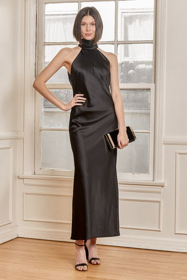 Bravado Black Satin Halter Backless Maxi Dress