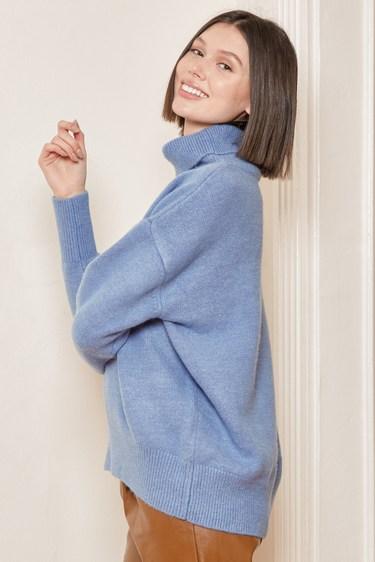Warm Me Up Dusty Blue Oversized Turtleneck Sweater
