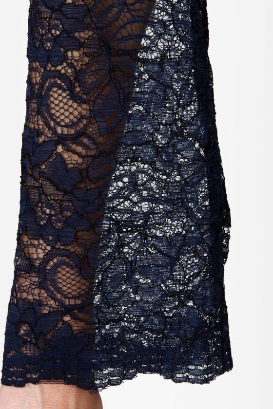 Like a Charm Navy Blue Lace Dress