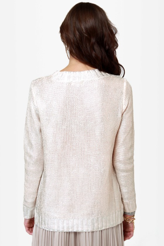 Lunar Landing Silver Knit Sweater