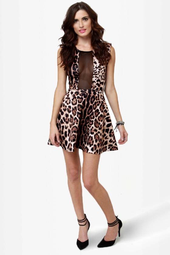 Girl vs. Wild Cutout Leopard Print Dress