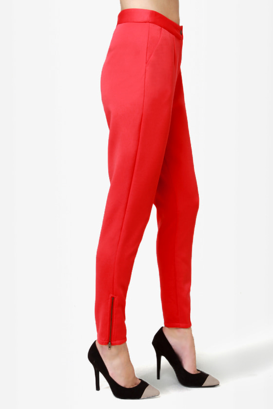 Zip It Good Red Skinny Pants at Lulus.com!