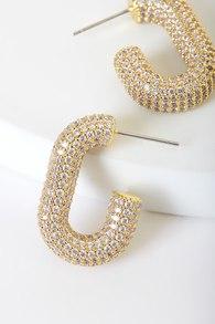 Pavé Bijou 14KT Gold Rhinestone Hoop Earrings