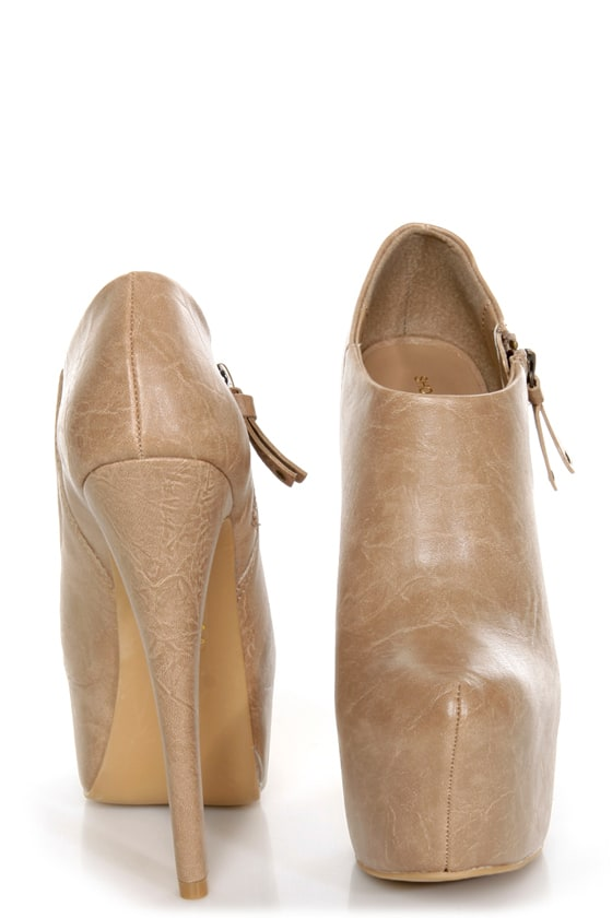 Shoe Republic LA Altitude Nude Super Platform Booties at Lulus.com!