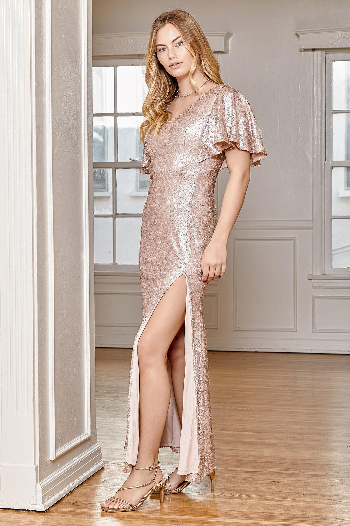 Dazzled Dream Matte Rose Gold Sequin Flutter Sleeve Maxi Dress