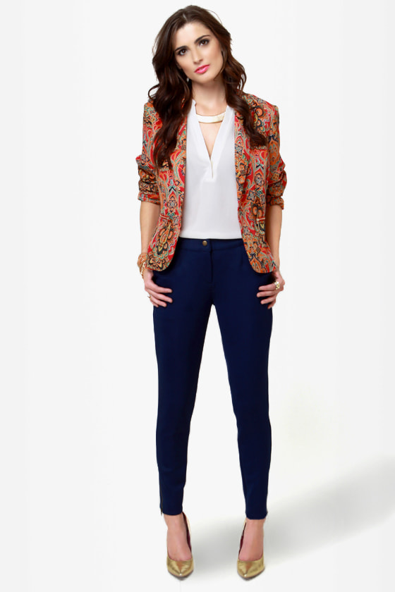 Zip It Good Navy Blue Skinny Pants at Lulus.com!