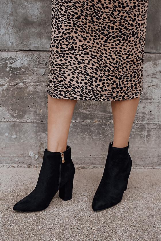Ottava Black Suede High Heel Booties Lulus