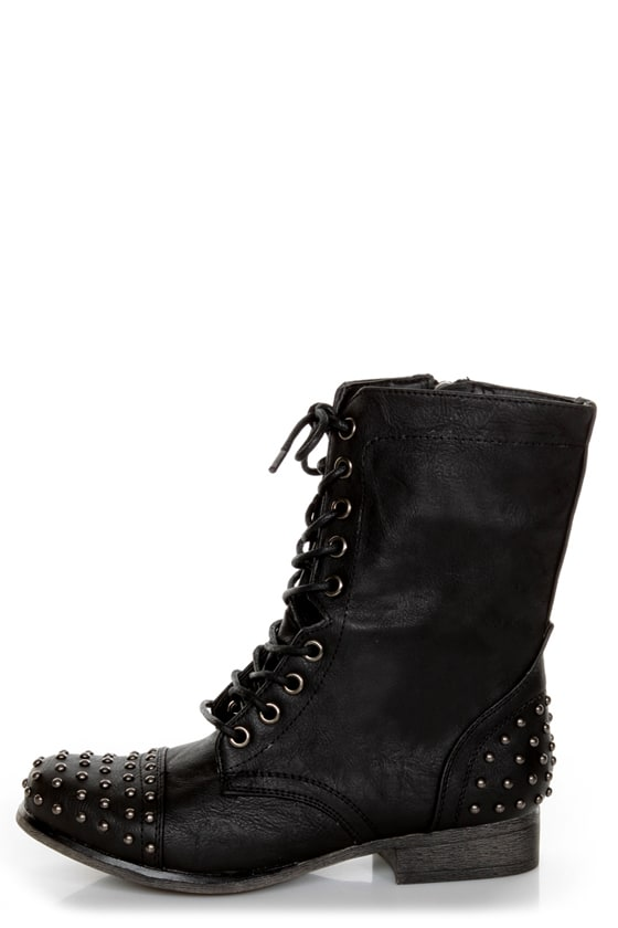 Madden Girl Gewelz Black Studded Lace-Up Combat Boots - $59.00