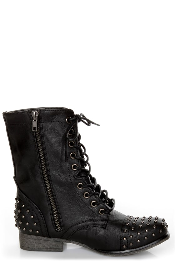 Madden Girl Gewelz Black Studded Lace-Up Combat Boots at Lulus.com!