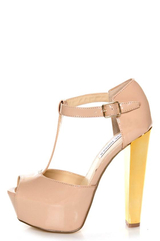 4ef68fdc9c7 Steve Madden Dyvine Fawn Patent T-Strap Platform Heels -  119.00