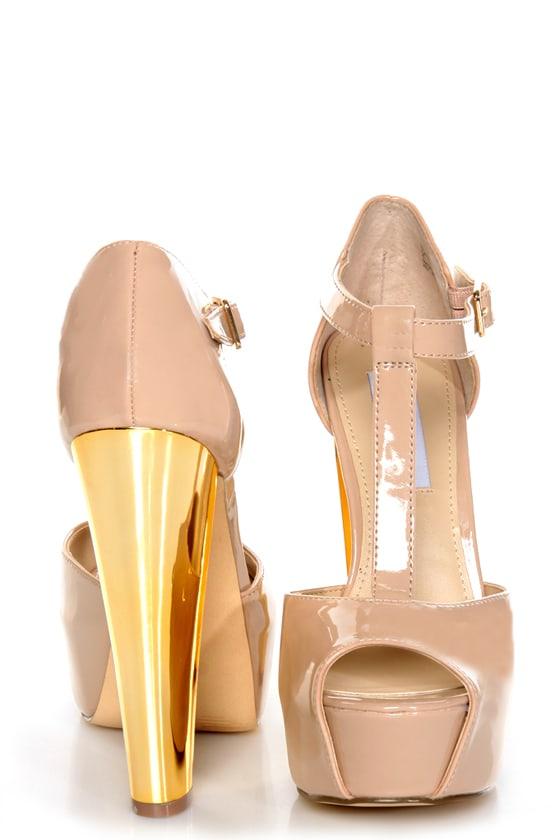 Steve Madden Dyvine Fawn Patent T-Strap Platform Heels