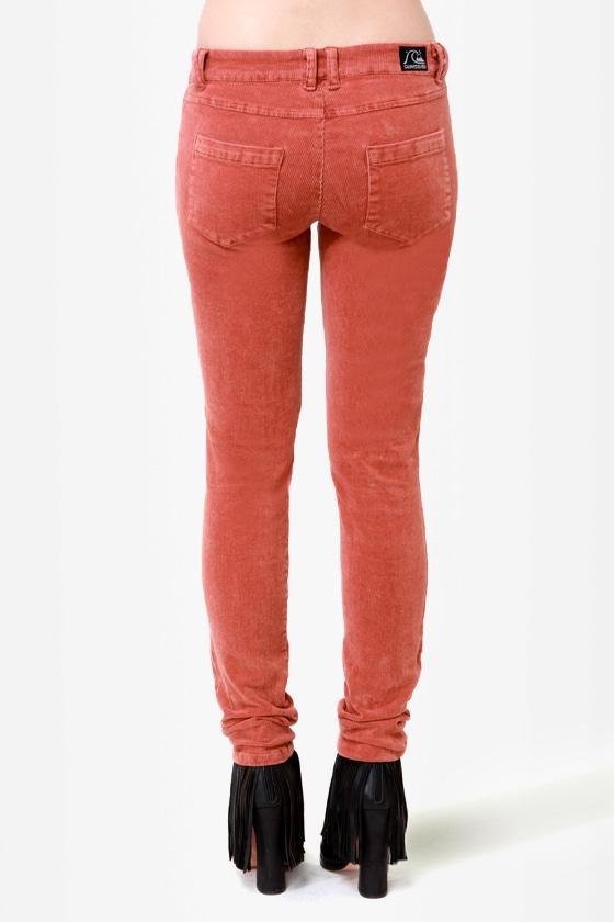 Quiksilver Woodstock Rust Red Corduroy Skinny Pants