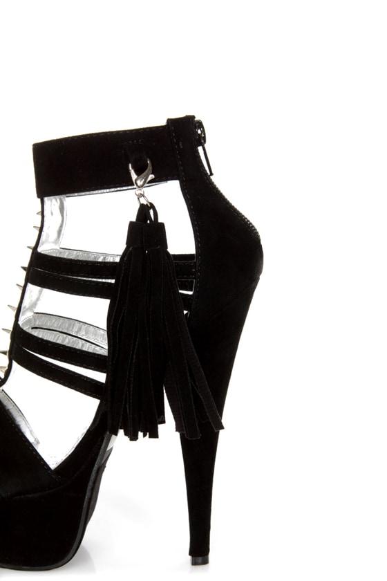 Mona Mia Katia Black Studded Tassel Platform Heels