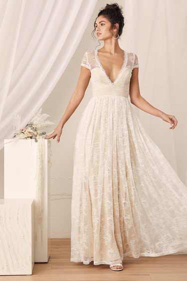 Life of Love White Floral Lace Short Sleeve Maxi Dress