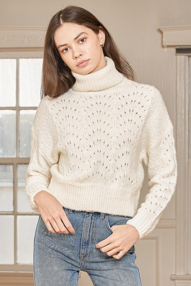 That's the Point Ivory Pointelle Knit Turtleneck Sweater
