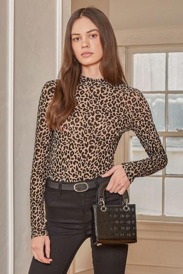 Wild Living Brown Leopard Print Mesh Long Sleeve Bodysuit