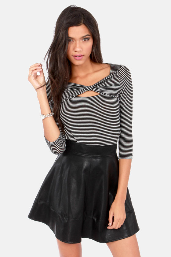 Cute Black Skirt - Vegan Leather Skirt - Mini Skirt - $43.00