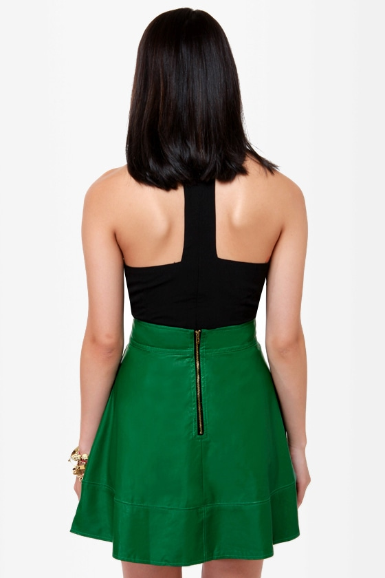 Happily Leather After Green Vegan Leather Skirt