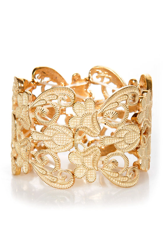 Putting On Heirlooms Gold Lace Cuff at Lulus.com!