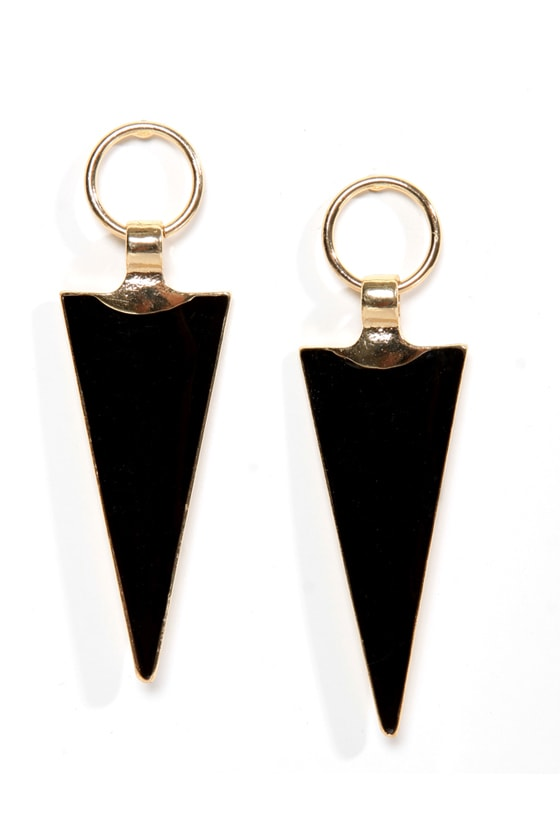 Arrowheads Up! Black and Gold Earrings at Lulus.com!