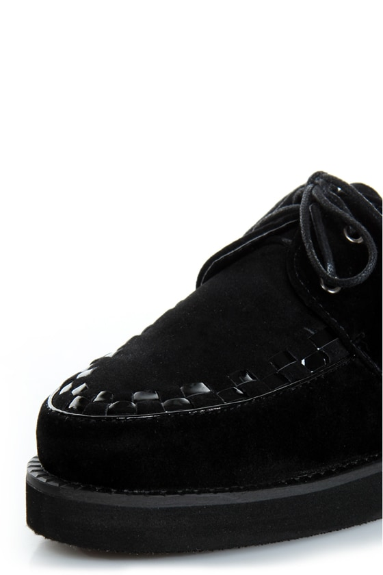 Bamboo Panamera 02 Black Lace-Up Creeper Flats