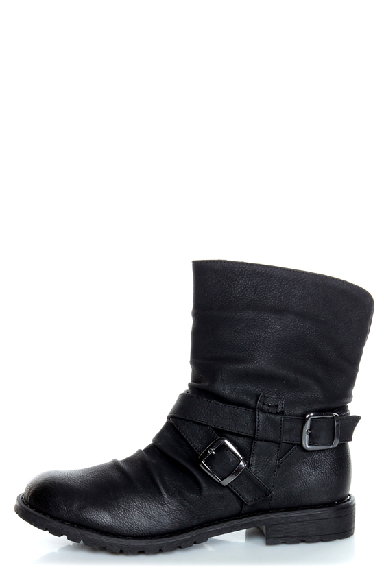 Bamboo Kacy 03 Black Slouchy Belted Ankle Boots - $44.00