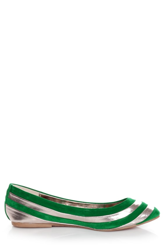 Dollhouse Amuse Green and Silver Striped Pointed Flats