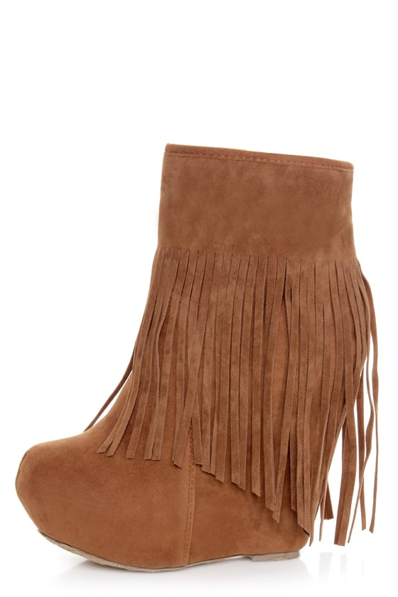 Dollhouse Sheena Chestnut Fringe Wedge Booties - Dollhouse Sheena Chestnut Fringe Wedge Booties - $49.00
