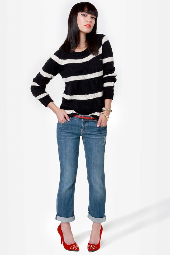 Volcom Lefty Loosey Black Striped Sweater