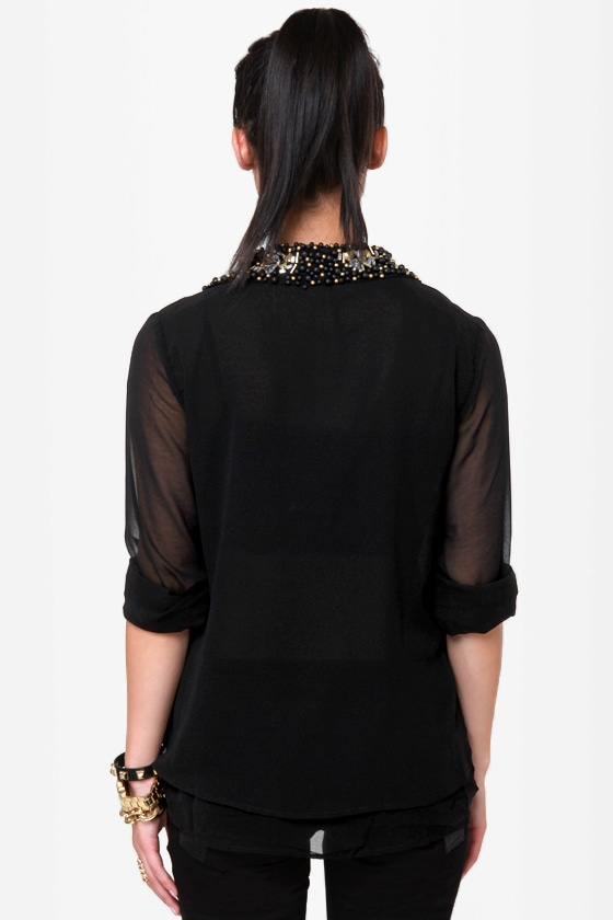 Bead Colony Beaded Black Button-Up Top
