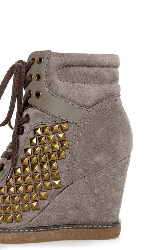 Report Nadja Grey Studded Lace-Up Wedge Sneakers