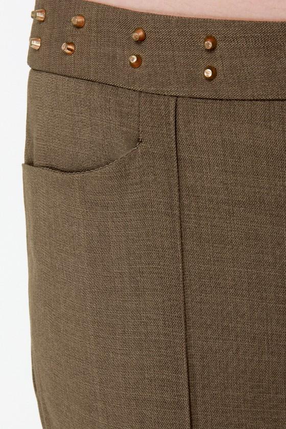 Slack Time Studded Olive Green Skinny Pants