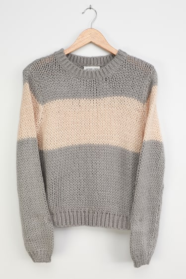 Mellow Thoughts Grey Color Block Knit Sweater