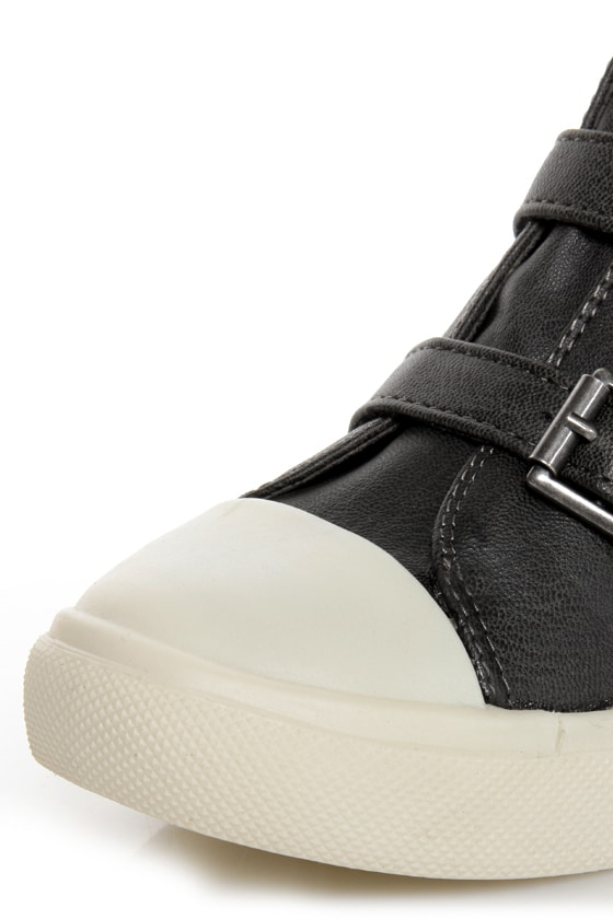 R2 Ardsley Grey Buckled Wedge Sneakers