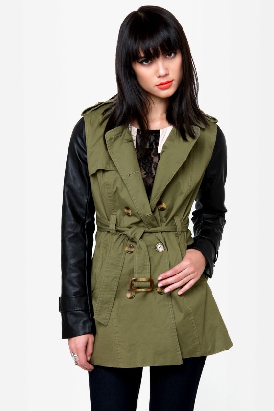 05a296fdb072c Cool Trench Coat - Vegan Leather Jacket - Olive Green Jacket -  68.00