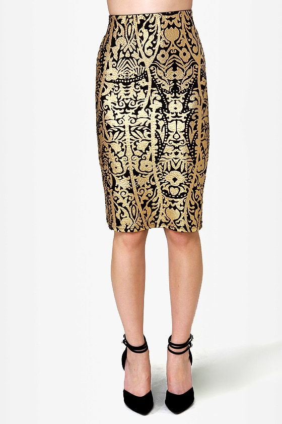 Foil Me Twice Gold Print Pencil Skirt
