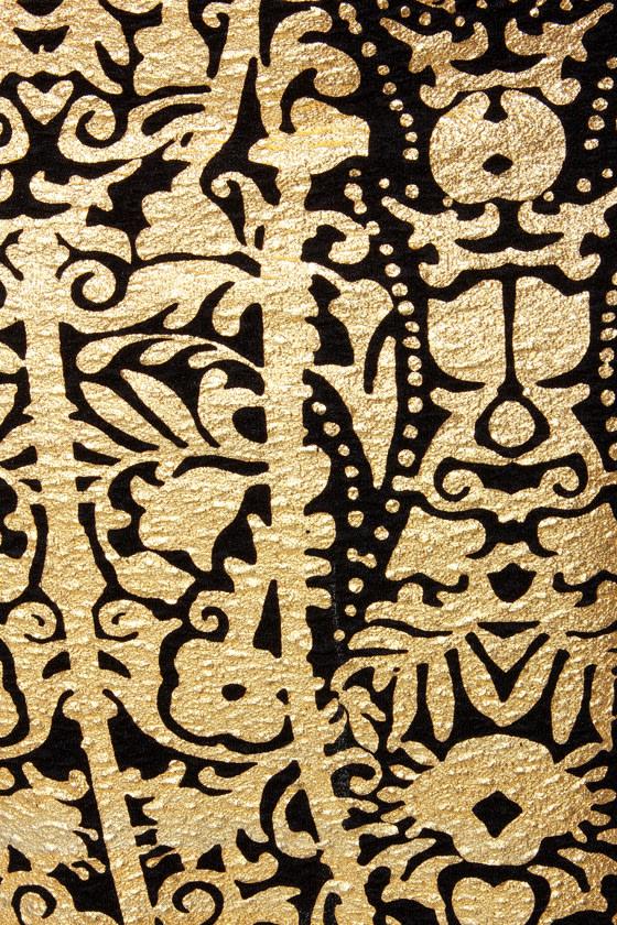 Foil Me Twice Gold Print Pencil Skirt