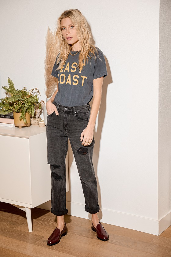 Rocky Washed Black Distressed High-Rise Boyfriend Jeans