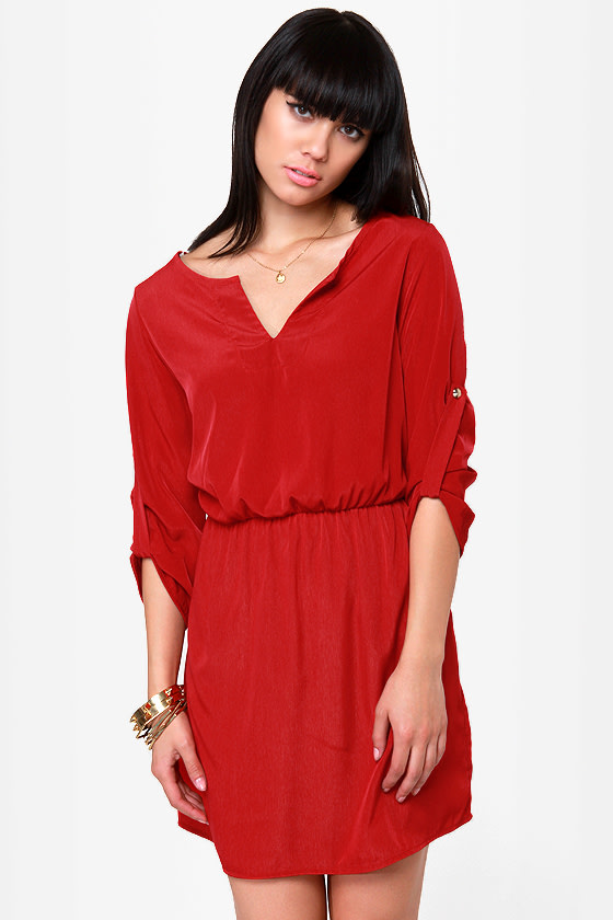 Cute Red Dress - Casual Dress - $42.00