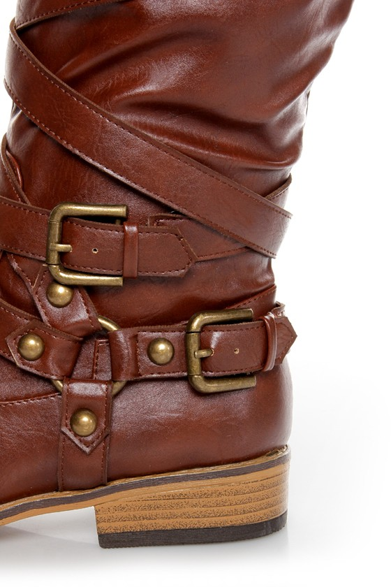 Bamboo Parksville 10 Brown Belted Motorcycle Boots at Lulus.com!