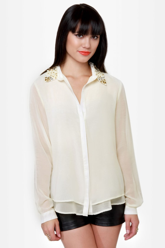 Bead Colony Beaded Cream Button-Up Top at Lulus.com!