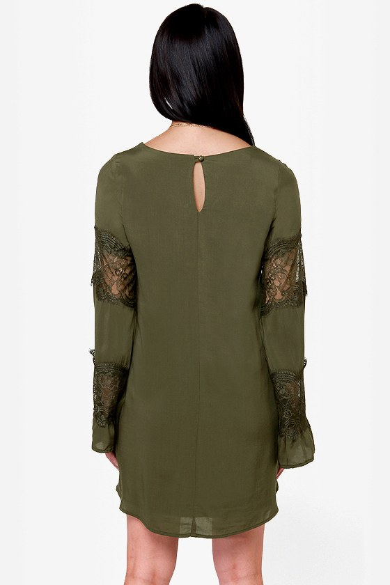 Sleeve It to Me Olive Green Shift Dress