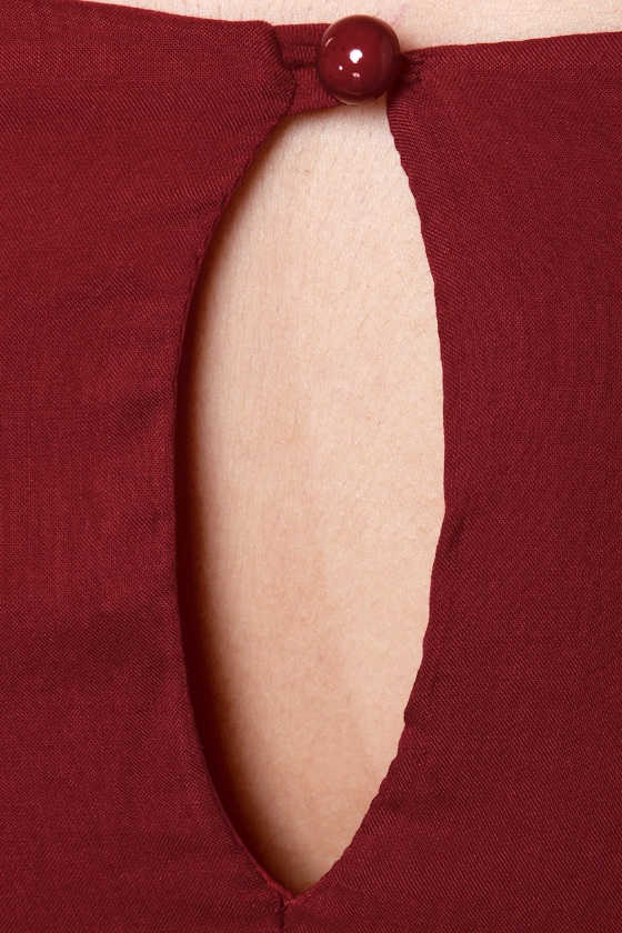 Sleeve It to Me Wine Red Shift Dress