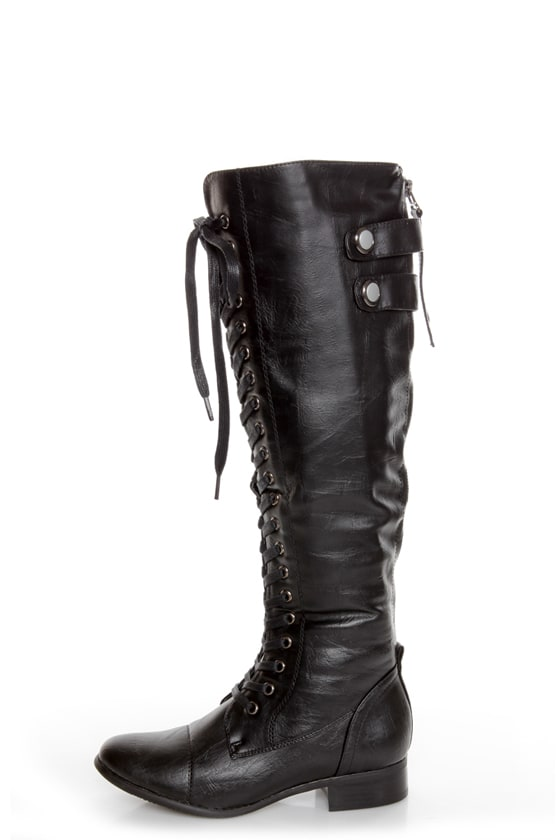 Rocker Black Lace-Up Knee High Boots