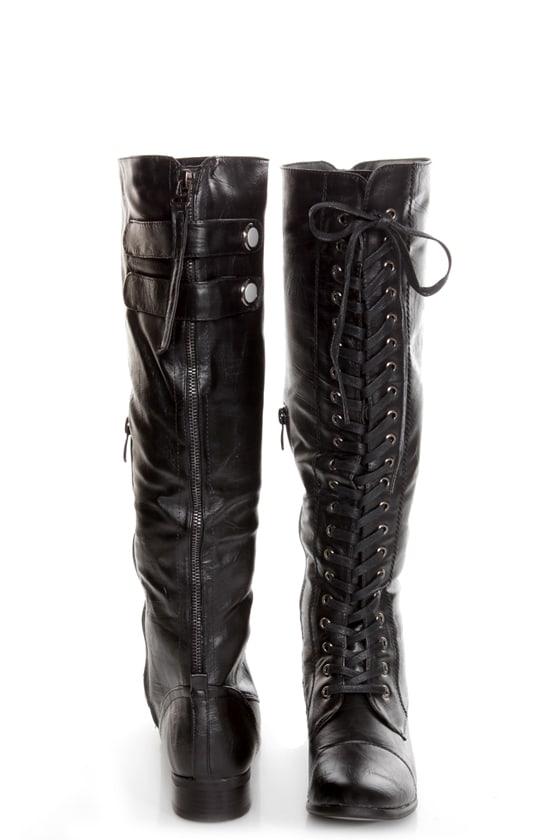 155fd0989a73 Rocker Black Lace-Up Knee High Boots -  66.00