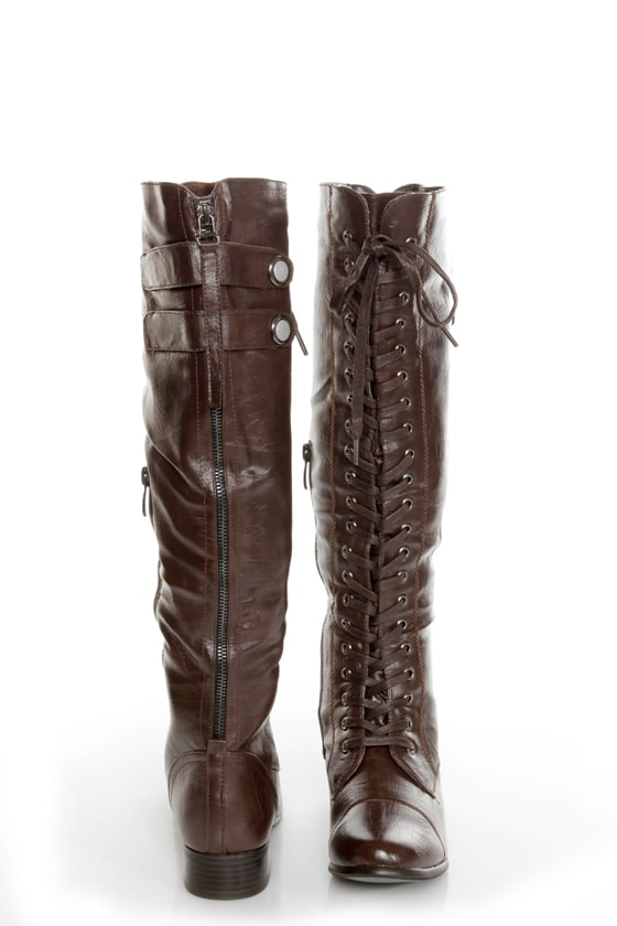 Rocker Brown Lace-Up Knee High Boots