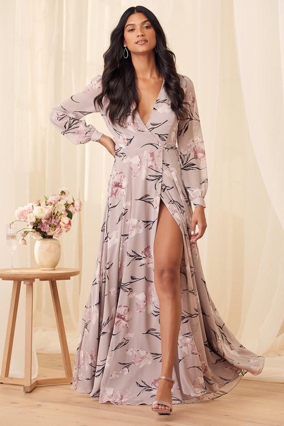 Loving You Dusty Purple Floral Print Long Sleeve Wrap Maxi Dress